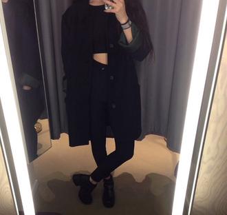 black coat black shoes black highwaised jeans black jeans black crop top bracelets