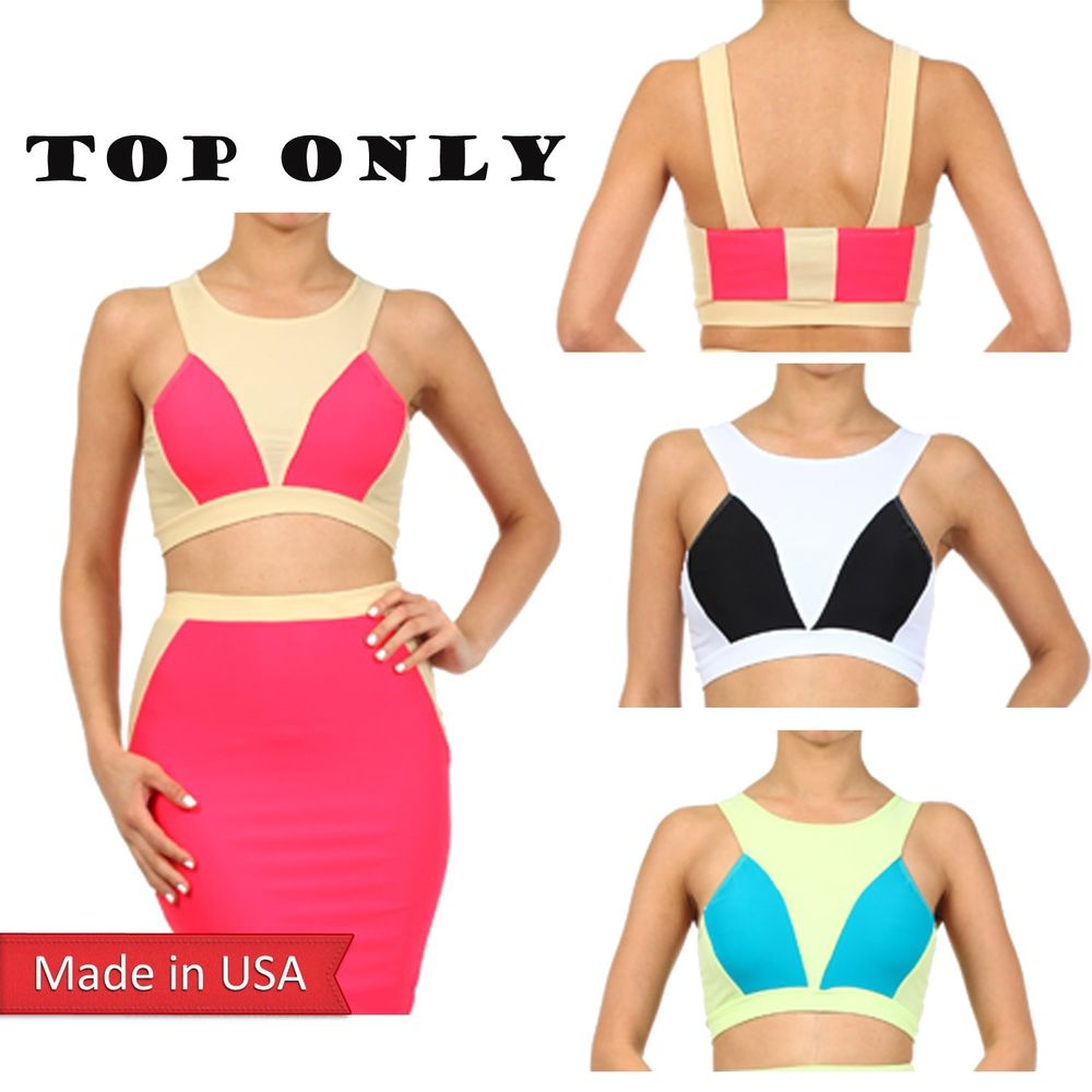 New Hot Women Chic Solid Colorblock Stripe Cute Fashion Bra Cropped Tank Top USA