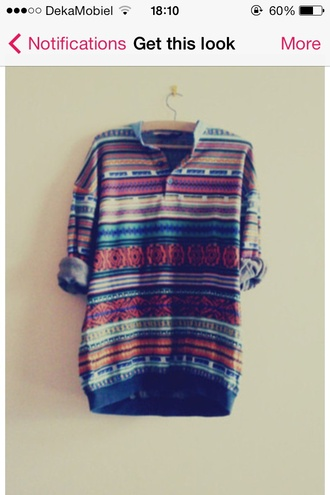 shirt hipster blouse tribal pattern colorful patterns colorful prints colorful hippie chic hippie boho aztec button up