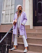 coat,tumblr,teddy bear coat,lilac,pants,white pants,cropped pants,cropped bootcut jeans,shoes,mules,glitter,glitter shoes,sweater,grey sweater,knit,knitwear,knitted sweater,grey beanie,beanie