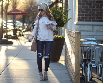 twopeasinablog blogger top jeans shoes bag sunglasses jewels sweater ruffle shoulder bag high heel sandals sandals skinny jeans