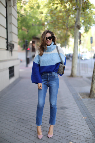 jeans tumblr blue jeans cropped jeans pumps pointed toe pumps high heel pumps sweater blue sweater stripes striped sweater sunglasses bag grey bag