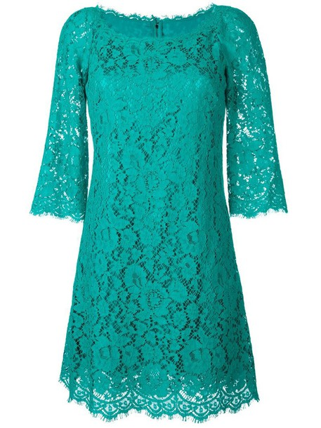 Dolce & Gabbana dress women lace floral cotton green
