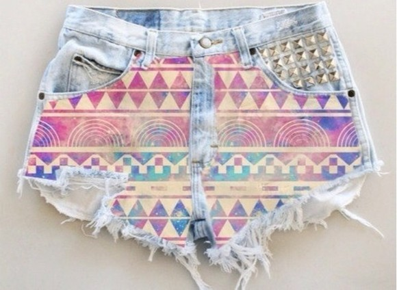 fringes shorts aztec