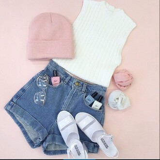 nail polish pink white mint girly girly outfits tumblr tumble pic tumblr outfit fashion inspo blue jeans high waisted shorts white top white crop tops heels mint bow pastel cute beanies fashion style cut out white crop tops summer