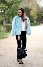 besugarandspice,blogger,jeans,bag,jewels,faux fur jacket,aqua,ring,fall outfits