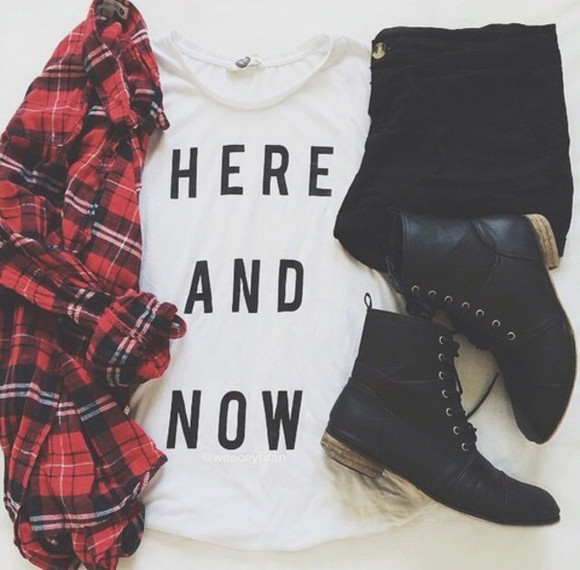 t-shirt girl grunge flannel