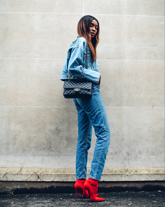 shoes tumblr boots red boots high heels denim jeans jacket denim jacket bag