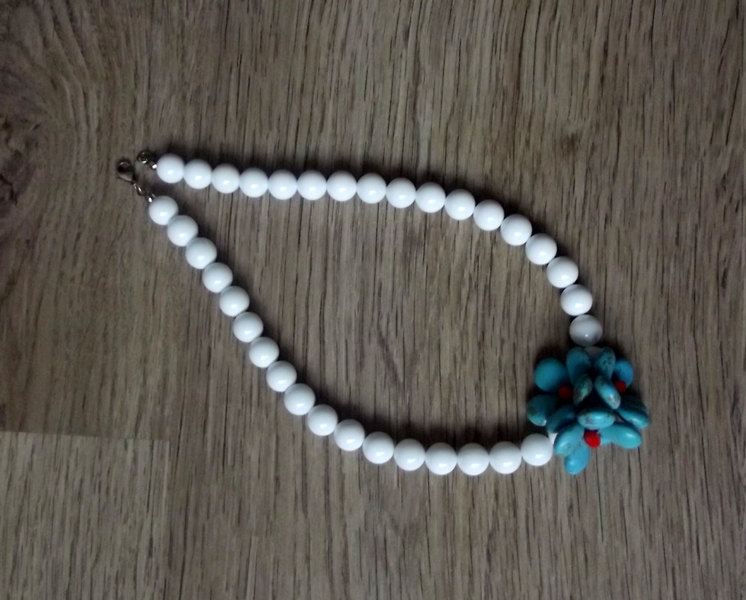 Shell necklace, turquoise gemstone necklace, turquoise flowers, gift, women jewelry, blue,white