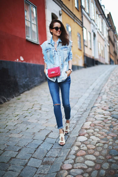 style scrapbook sunglasses jeans shirt bag shoes jewels jacket