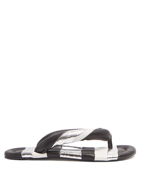 sandals leather sandals leather silver black shoes