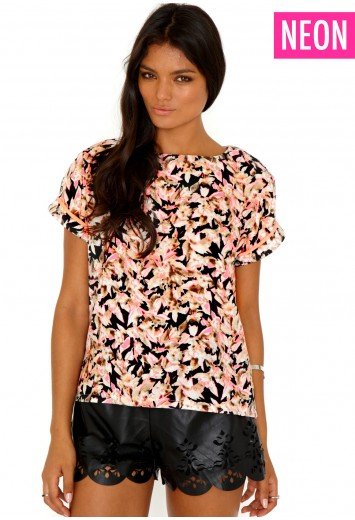 Imedia Flower Print Rolled Sleeve Oversized Top - top - missguided
