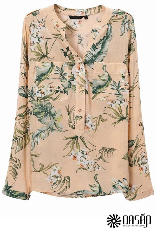 Floral Long Sleeve Chiffon Blouse - OASAP.com