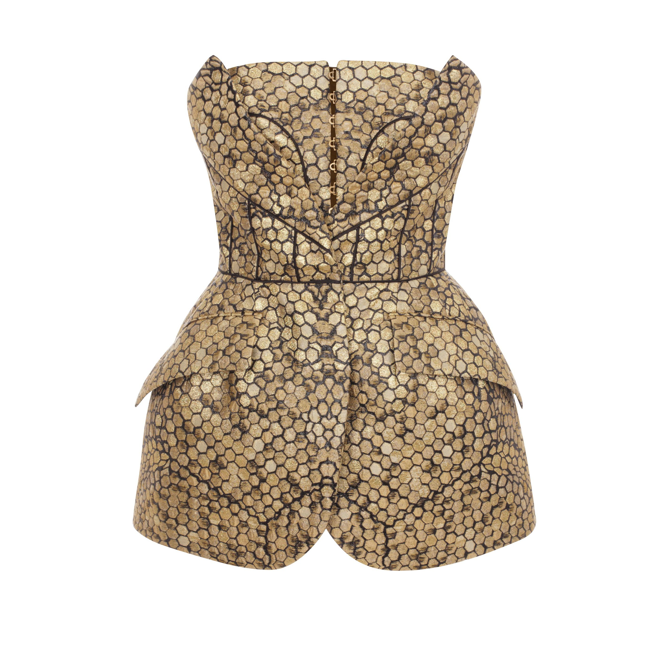 Bee Honeycomb Bombe Hip Bustier Alexander McQueen | Silk Top | Tops Knitwear |