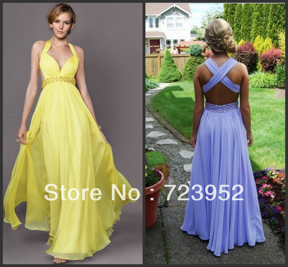2013 New Fashion Prom Gowns Sexy low Cut Cross Back Beaded Waistline Chiffon Yellow And Purple Backless Prom Dresses-in Prom Dresses from Apparel & Accessories on Aliexpress.com