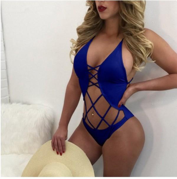 swimwear girly blue bikini one piece swimsuit one piece cut-out