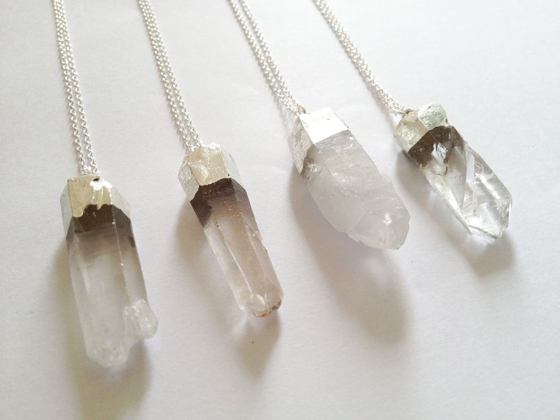 Natural Raw Clear Quartz Point Necklace Crystal Rough Boho Silver Dipped NEW | eBay