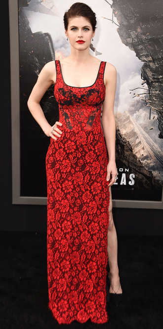 dress gown slit dress alexandra daddario