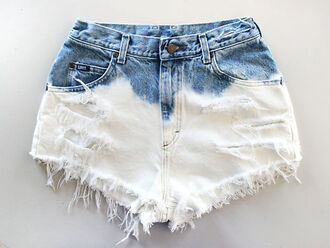 shorts high waisted short ombre bleach dye hipster white ombre denim cute dip dye shorts bleached shorts