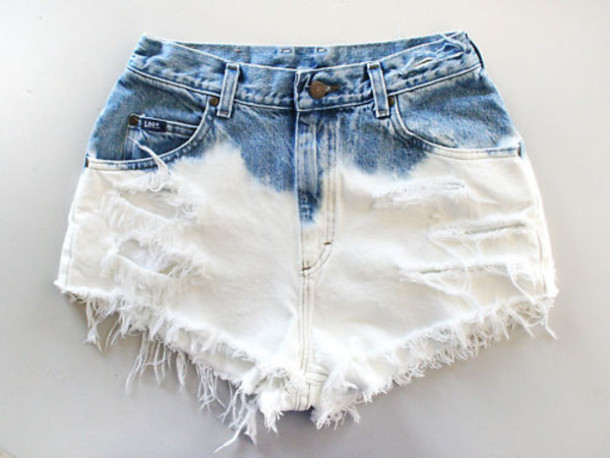 Shorts: high waisted shorts, ombre bleach dye, hipster, white ...