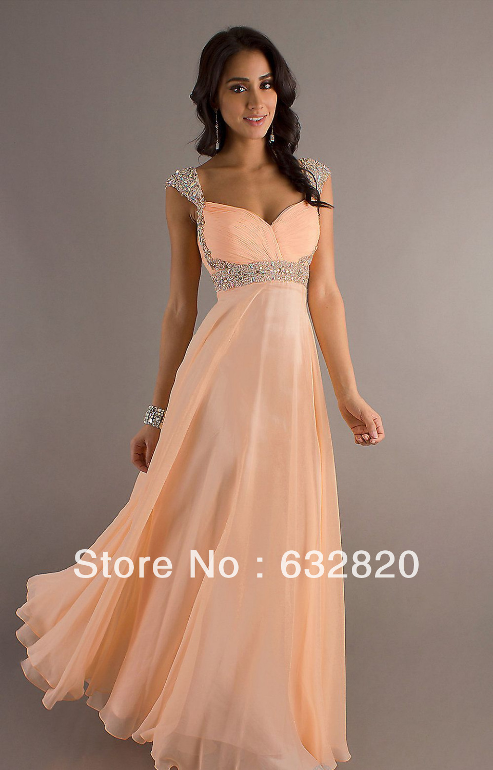 Cheap beaded custom made ruched free shipping wholesale cap sleeve peach evening gowns YE114-in Evening Dresses from Apparel & Accessories on Aliexpress.com
