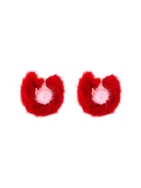 metal fur women earrings red jewels