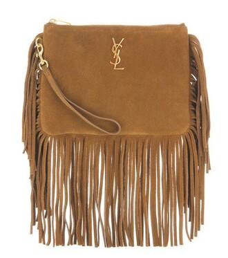 clutch suede brown bag