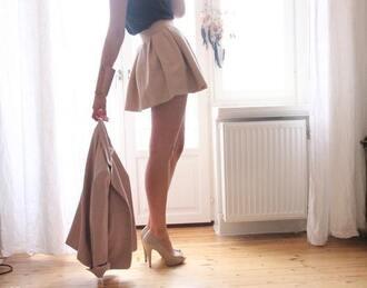 skirt beige high heels shoes shirt