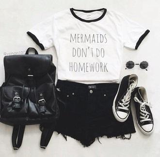 shirt white t-shirt white top white mermaid homework