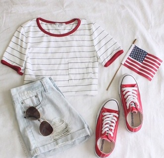 shirt converse red shorts denim sunglasses