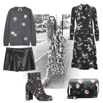 look de pernille blogger dress sweater skirt bag shoes floral dress roses floral shoes leather bag 70s style hippie