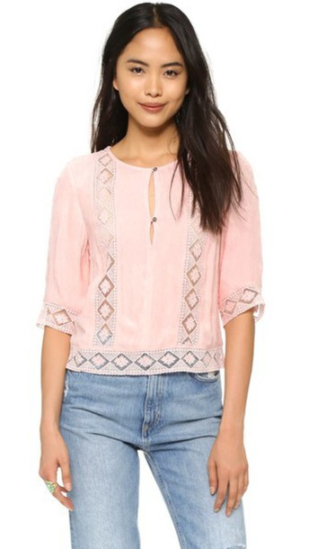 Twelfth St. By Cynthia Vincent Lace Inset Blouse - Peach
