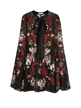 cape embroidered floral silk black top