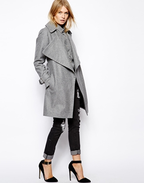 Asos coat with waterfall drape front in wool at asos