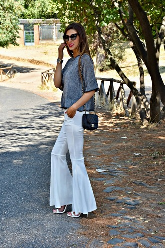cosamimetto blogger sweater pants shoes bag jewels flare pants fall outfits chanel bag grey top sandals