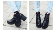 shoes,platform shoes,lace,black dress,black,shoes black grunge flat,platform lace up boots,plaid,winter sweater,winter outfits,socks,grunge,urban,girly