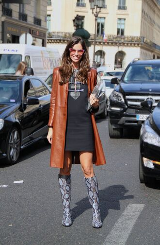 shoes blue boots leather coat printed boots high heels boots knee high boots snake print black dress dress mini dress fall dress necklace coat brown coat sunglasses streetstyle fall outfits cat eye