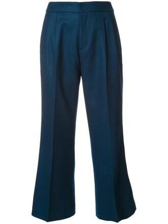 cropped women blue wool pants