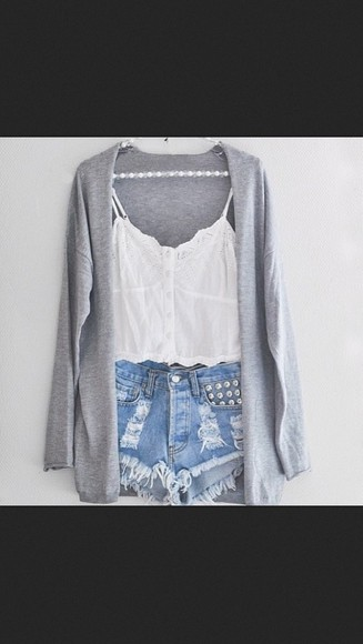 studs shorts high-waisted shorts lightwash distressed sweater cardigan grey cute studded lace lace top crop tops white denim top cut offs tank top blouse t-shirt