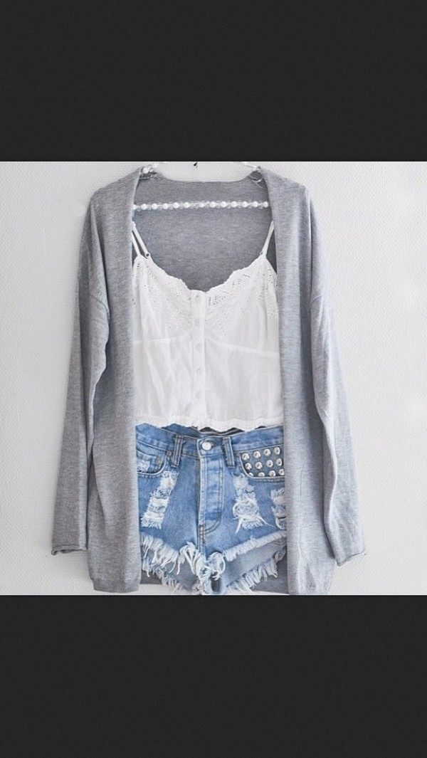 sweater cardigan grey cute shorts studded lace lace top crop tops white denim top studs cut offs tank top blouse t-shirt High waisted shorts acid wash ripped