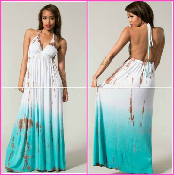 dress summer dress backless dress backless maxi dress maxi fashion style tumblr pretty dress white dress tumblr girl cute cute dress clothes mint white tie dye ombré blue maxi dress comfy outfits lovely pepa beach halter