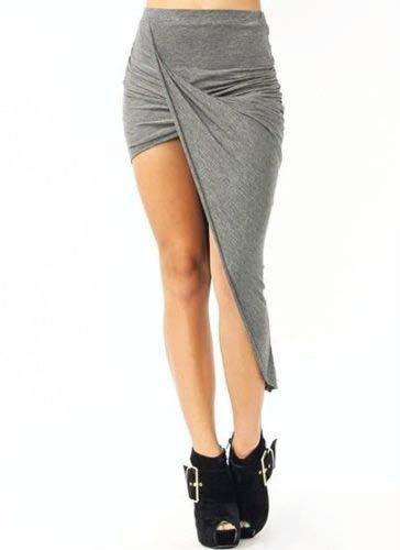 Asymmetrical wrap skirt