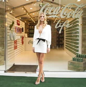 dress short dress white dress rosie huntington-whiteley sandals high heels