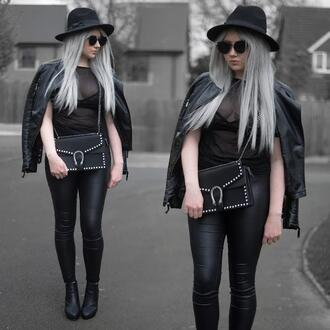 sammi jackson blogger sunglasses jacket top jeans bag shoes black bag all black everything black leather jacket see through top mesh top goth