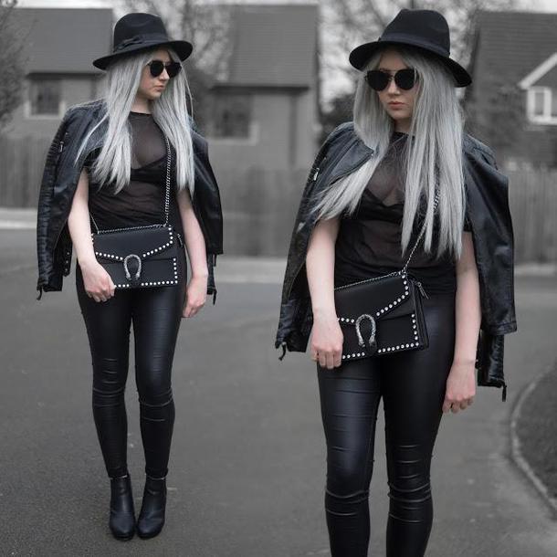6f1efc2171 sammi jackson blogger sunglasses jacket top jeans bag shoes black bag all  black everything black leather
