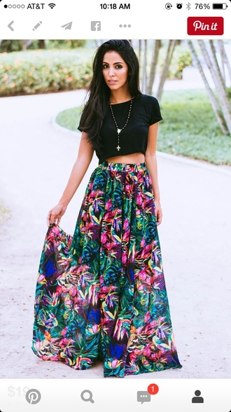 skirt floral skirt maxi skirt fashion top
