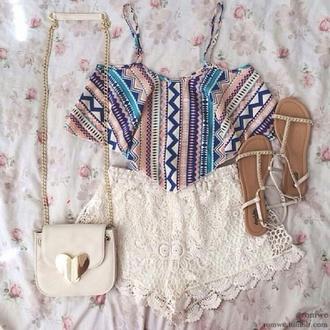 shirt aztec crop top lace shorts studded sandals