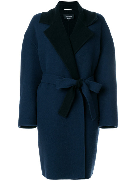 Rochas coat women blue wool