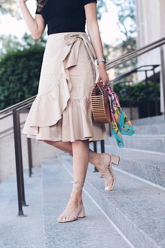 skirt tumblr midi skirt wrap ruffle skirt ruffle ruffle skirt wrap skirt sandals nude sandals bag shoes