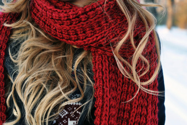 scarf red scarf cable knit knit red